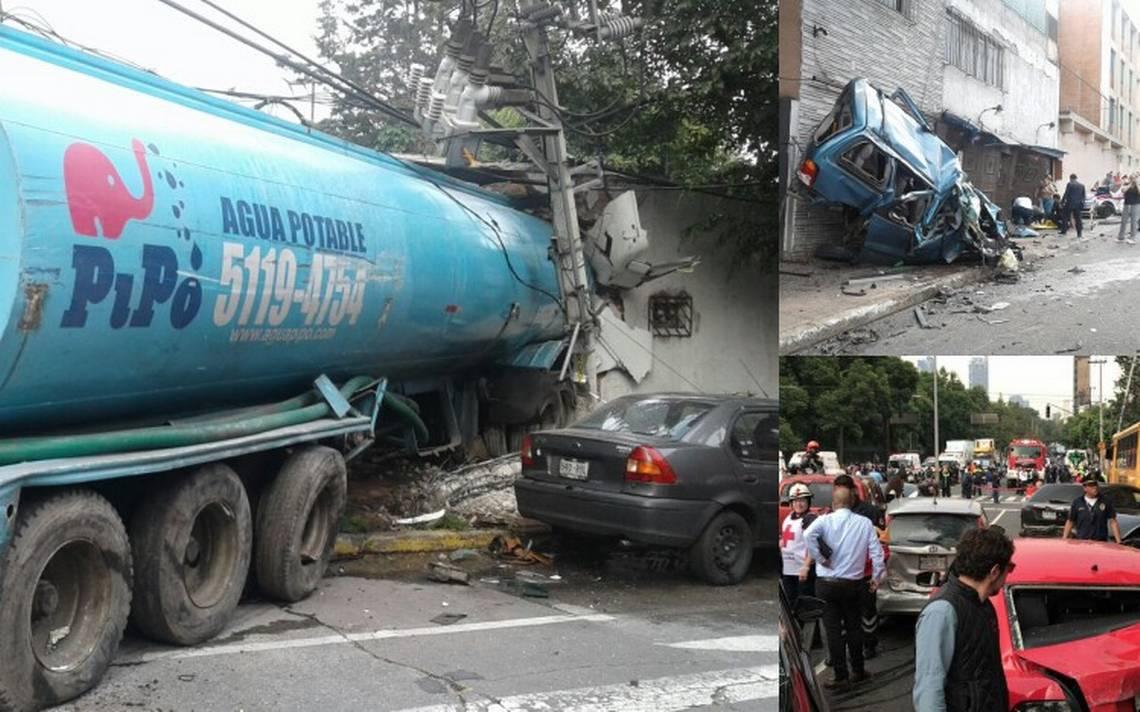 Pipa se queda sin frenos en Constituyentes e impacta a 10 autos