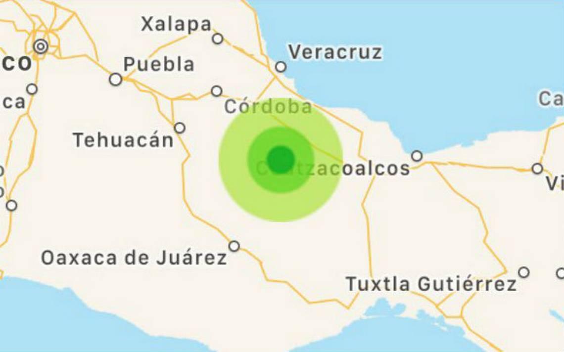 Sismo de magnitud 5.4 pega al sur de Veracruz esta mañana