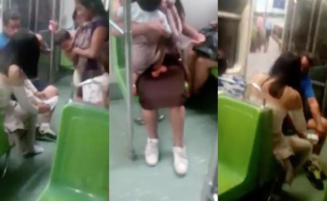 Mujer regala los zapatos que vestía a joven descalza en el Metro