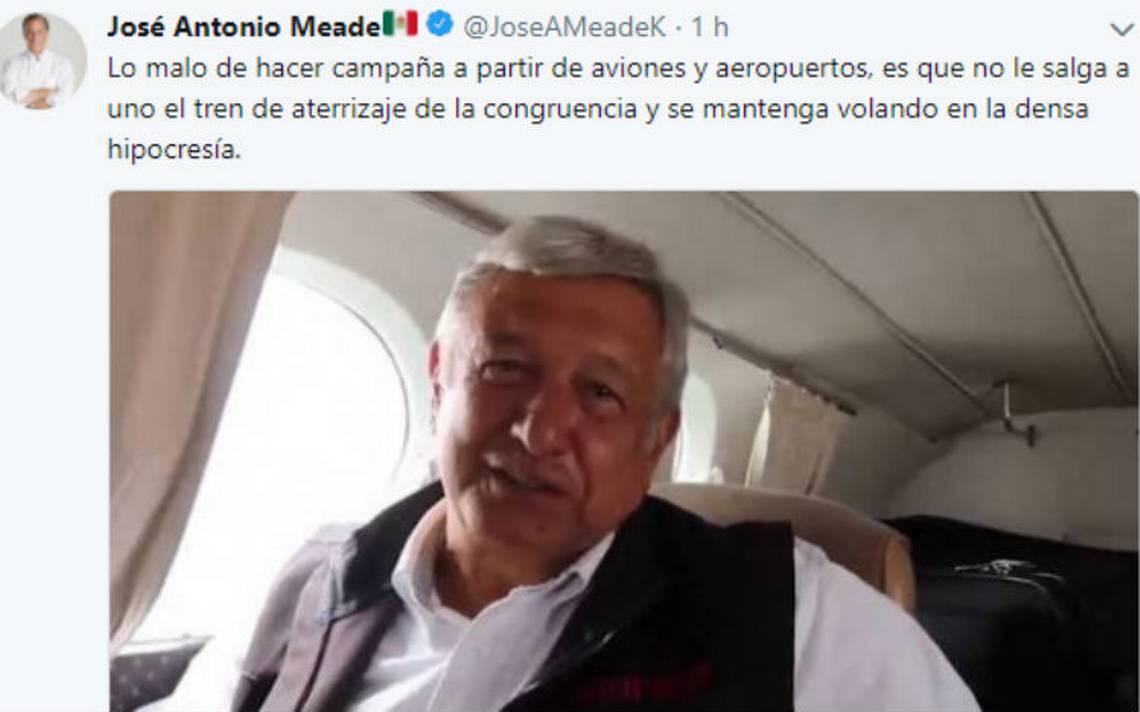 Meade afirma que Obrador es incongruente al usar un taxi aéreo