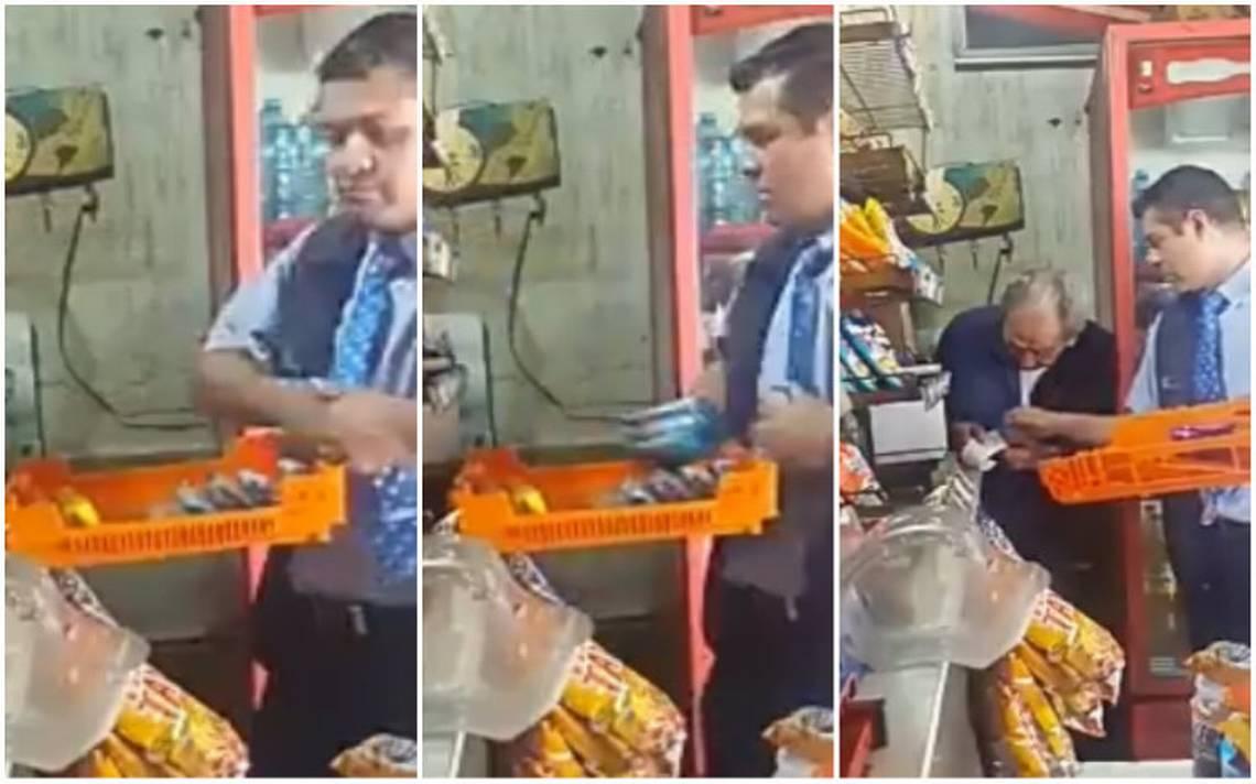 [Video] Captan a repartidor de Bimbo robando pastelitos a un anciano