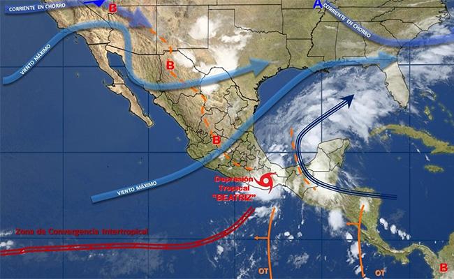 """""""Beatriz"""" se debilita a depresión tropical, pero continuarán tormentas"""