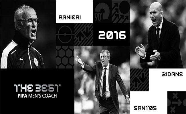 Zidane, Ranieri y Fernando Santos, candidatos a técnico del año de la FIFA