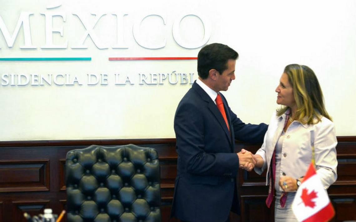 Peña Nieto refrenda su compromiso con Chrystia Freeland de trabajar en el TLCAN