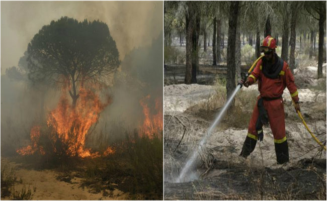 Evacuan a 2 mil personas por incendio en parque nacional de España