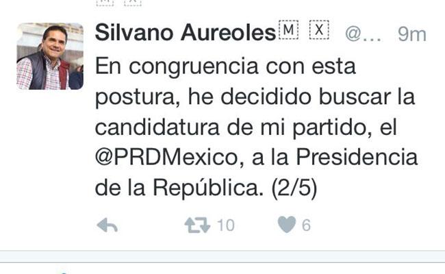Confirma Silvano intención de ser candidato presidencial