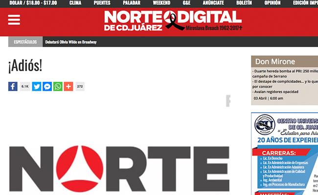 Periódico donde laboró Miroslava cerrará página digital