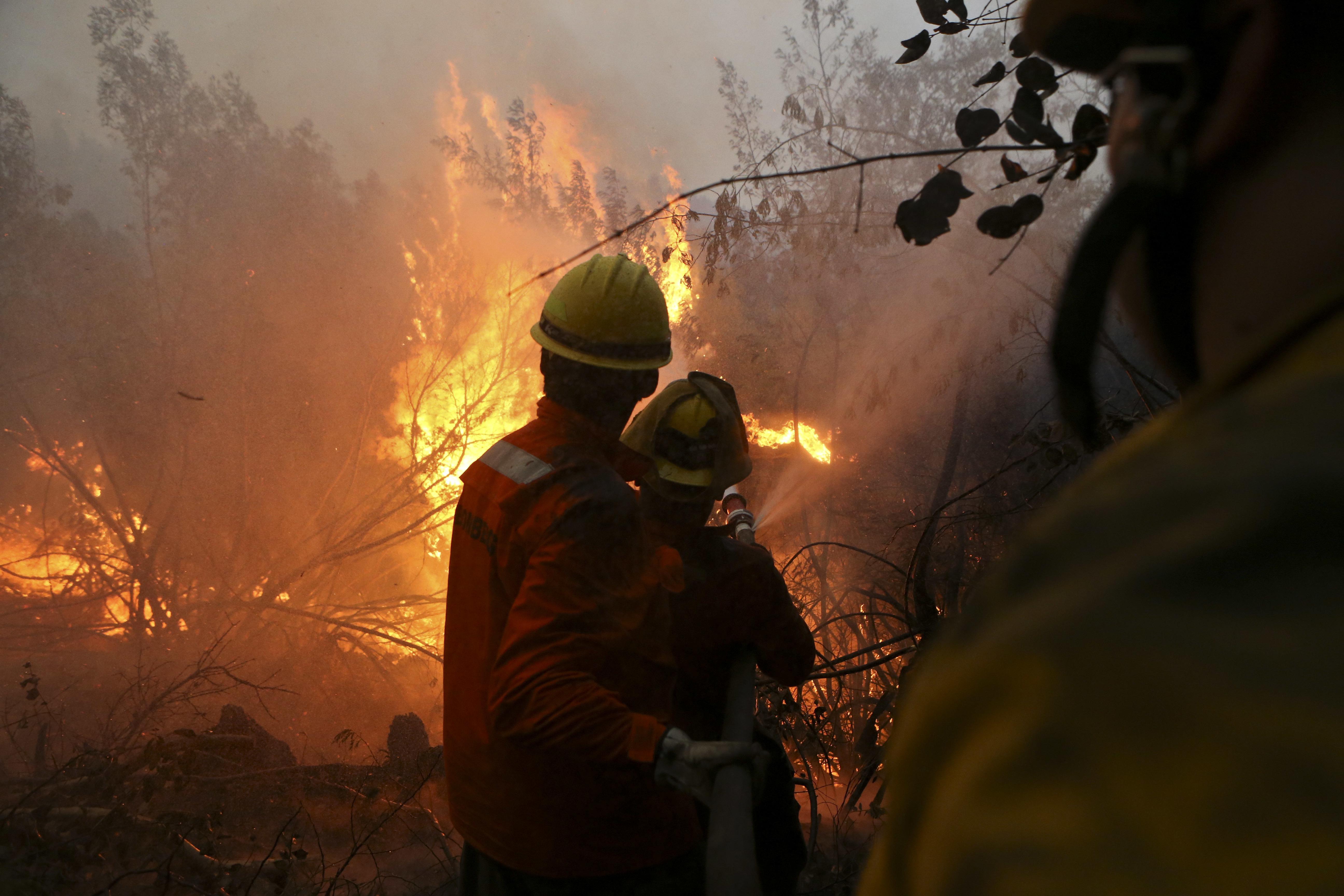 Brigadas terrestres y aéreas continúan combatiendo incendios en Chile