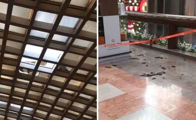 Cae parte del techo de Plaza Satélite; no hay lesionados