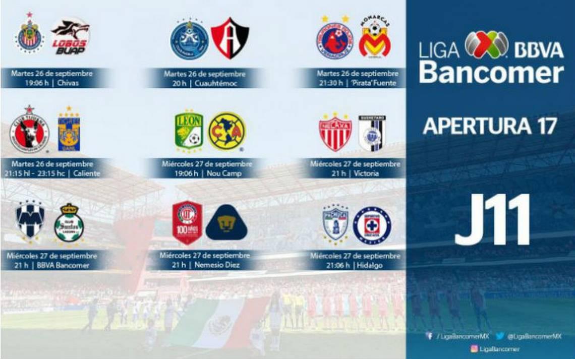 Liga Bancomer MX define horarios para partidos de la jornada 11