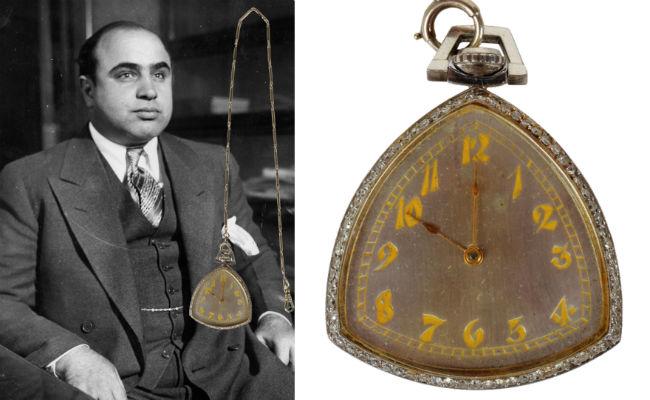 Subastan reloj de bolsillo con diamantes del gánster más temido, Al Capone