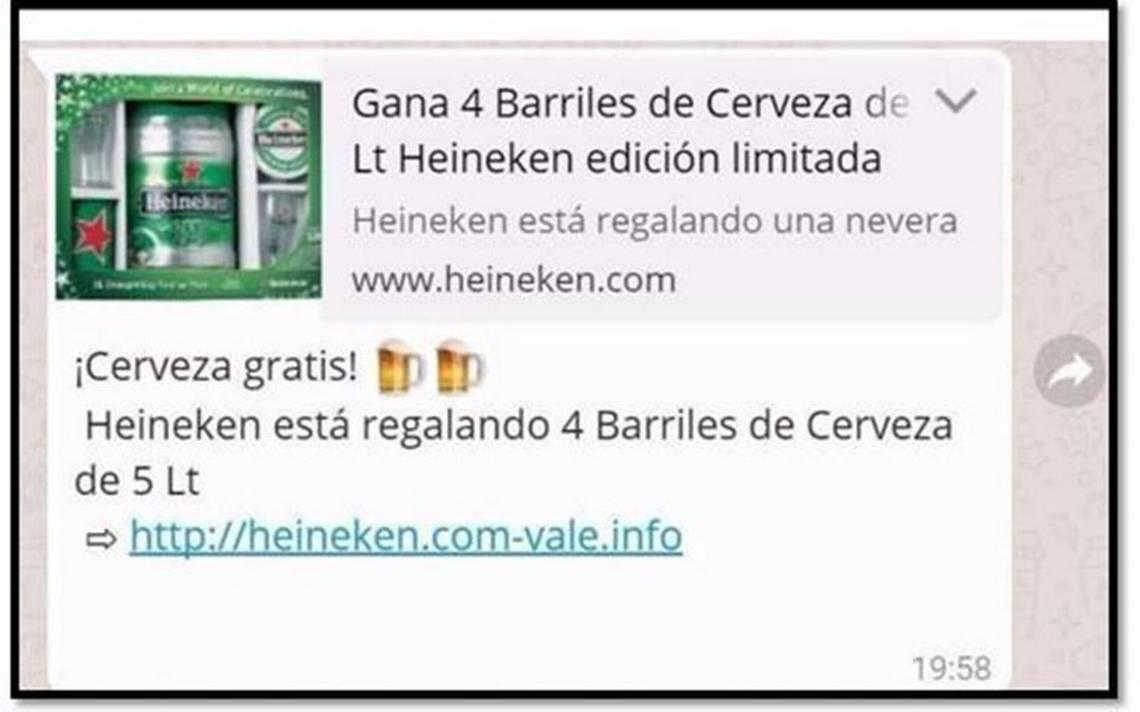 ¿Cerveza gratis por Whatsapp? ten cuidado, se trata de una estafa