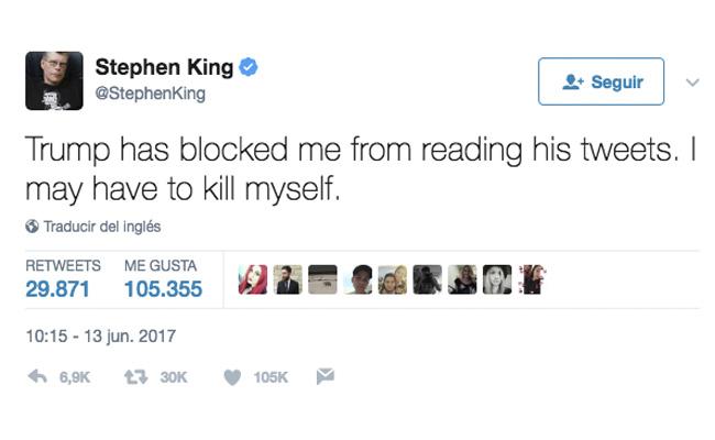 """""""Tendría que suicidarme"""", Stephen King se burla porque Trump lo bloqueó en Twitter"""