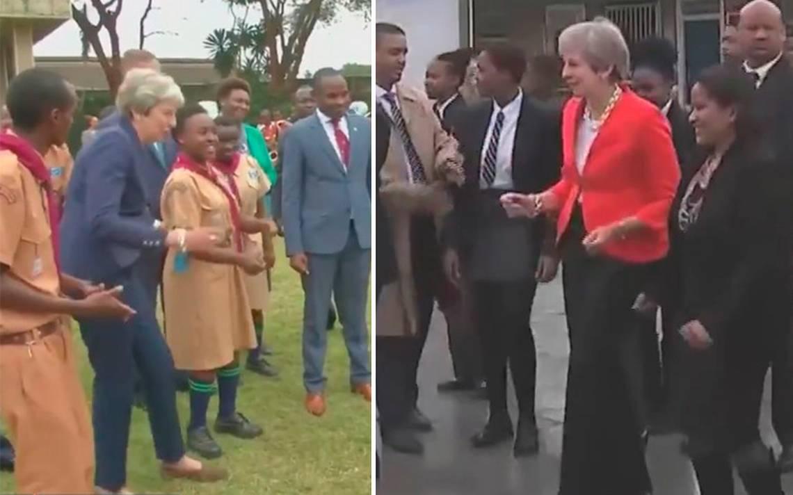 [Video] ¡Adiós seriedad! Theresa May baila en Sudáfrica y enloquece a las redes
