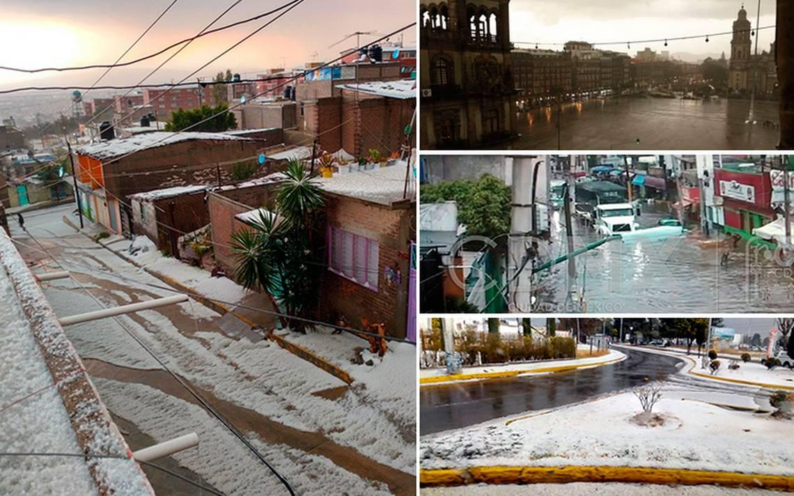 Lluvia y granizada provocan caos en el Valle de México