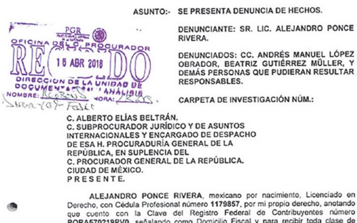 Ante PGR, Ponce Rivera denuncia a AMLO por supuesto lavado de dinero