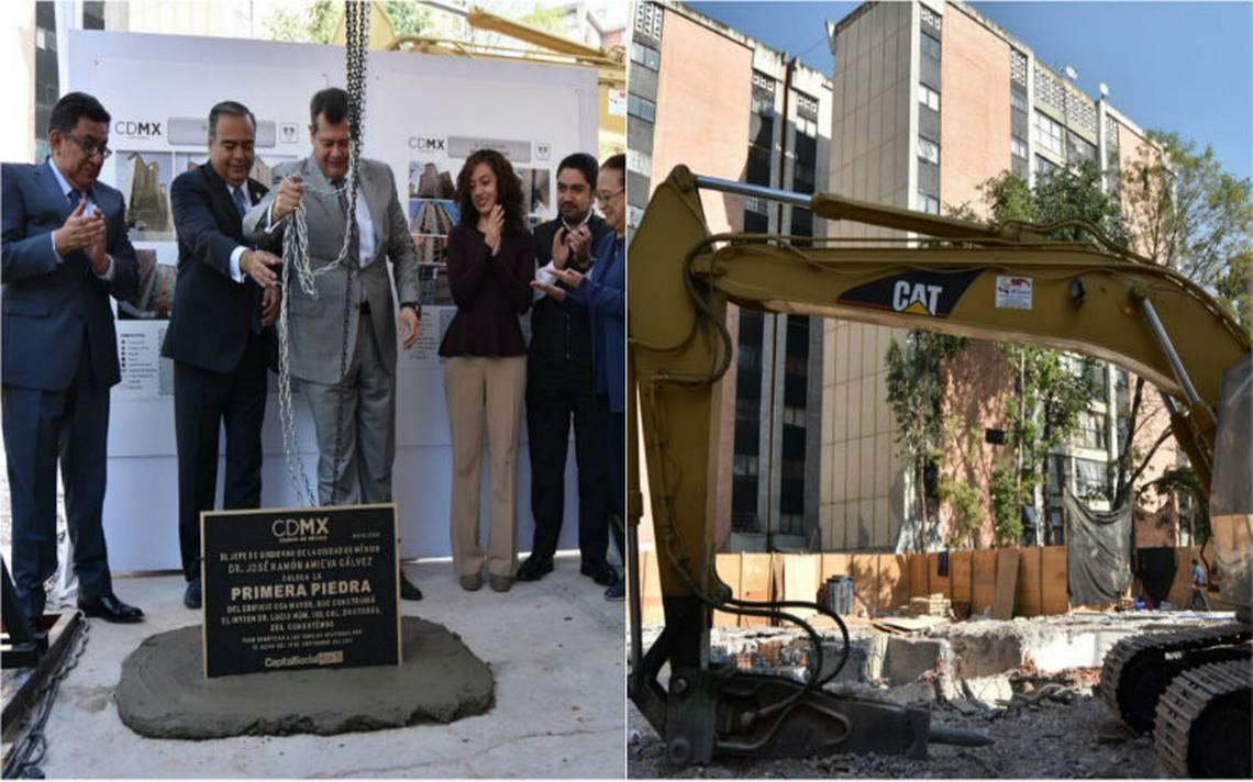 Colocan la primera piedra de reconstrucción del edificio Osa Mayor