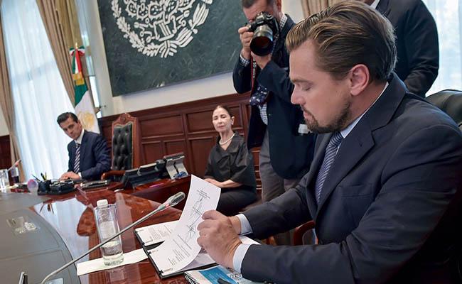 DiCaprio firma acuerdo con Peña Nieto en defensa de la vaquita marina