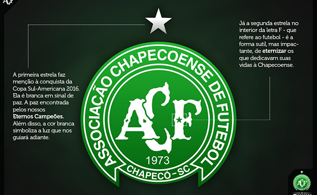 Modifica el Chapecoense su escudo para recordar a las víctimas del avión