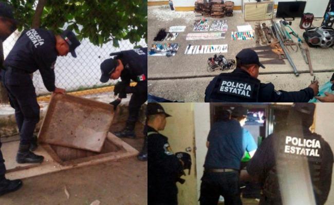 Confiscan televisiones, frigobares, drogas y armas en penal de Acapulco