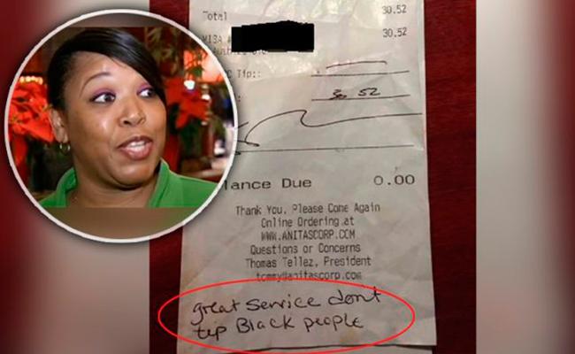 En vez de propina, le dejan recado racista a mesera afroamericana