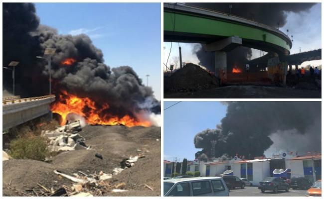 Controlan incendio en Circuito Exterior Mexiquense