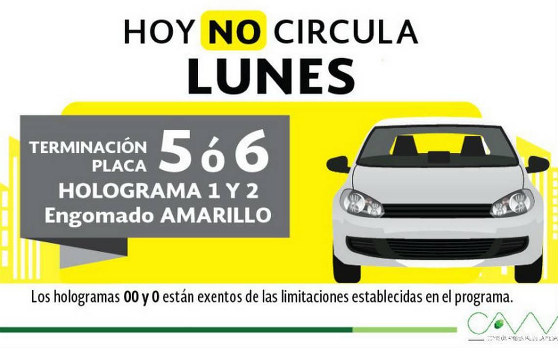 Autos con engomado amarillo no circulan este lunes