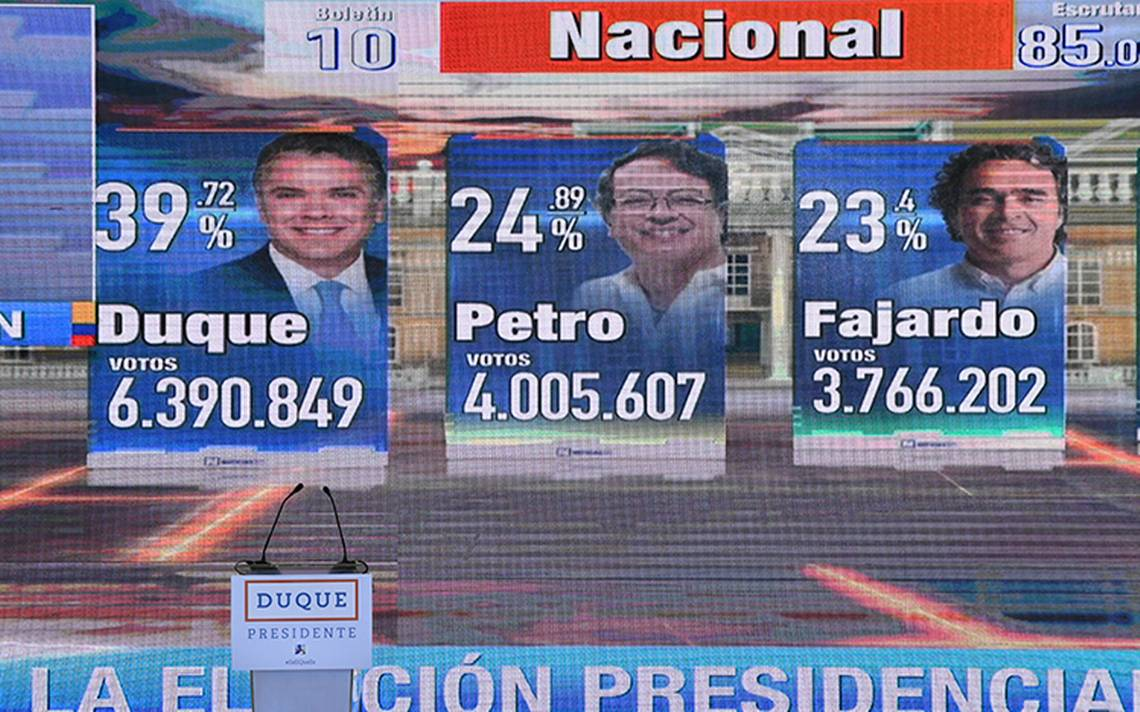 Duque y Petro se perfilan para segunda vuelta en presidenciales de Colombia