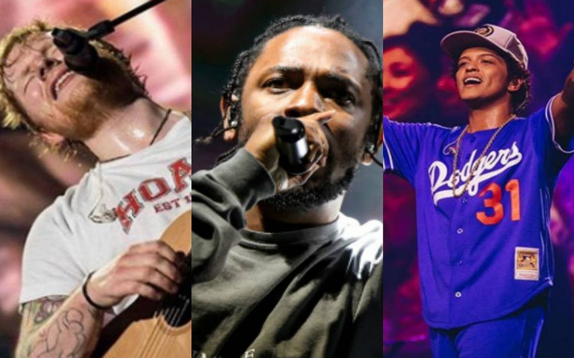 Kendrick Lamar, Ed Sheeran y Bruno Mars, favoritos en los premios Billboard
