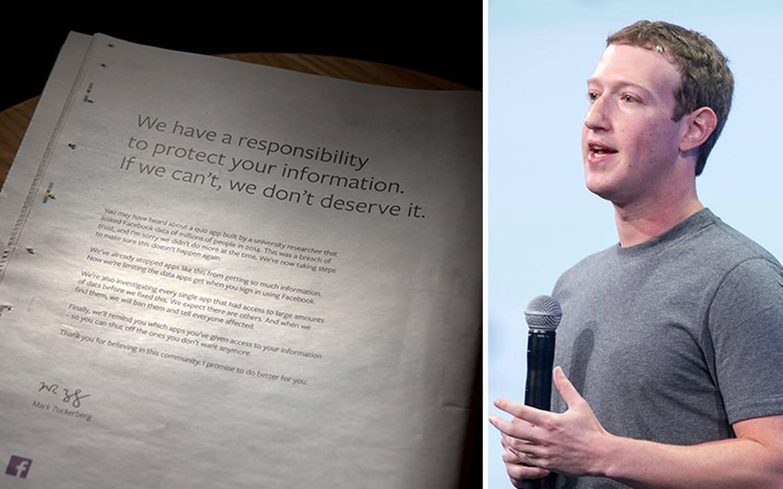 Mark Zuckerberg publica disculpa en periódico británico por escándalo de Facebook
