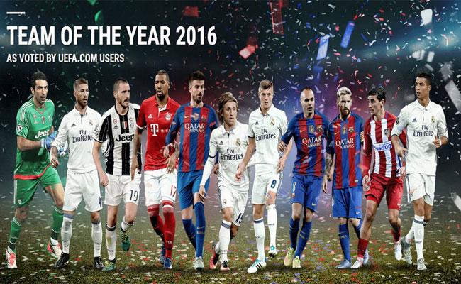 Cristiano Ronaldo y Lionel Messi lideran equipo del año de la UEFA