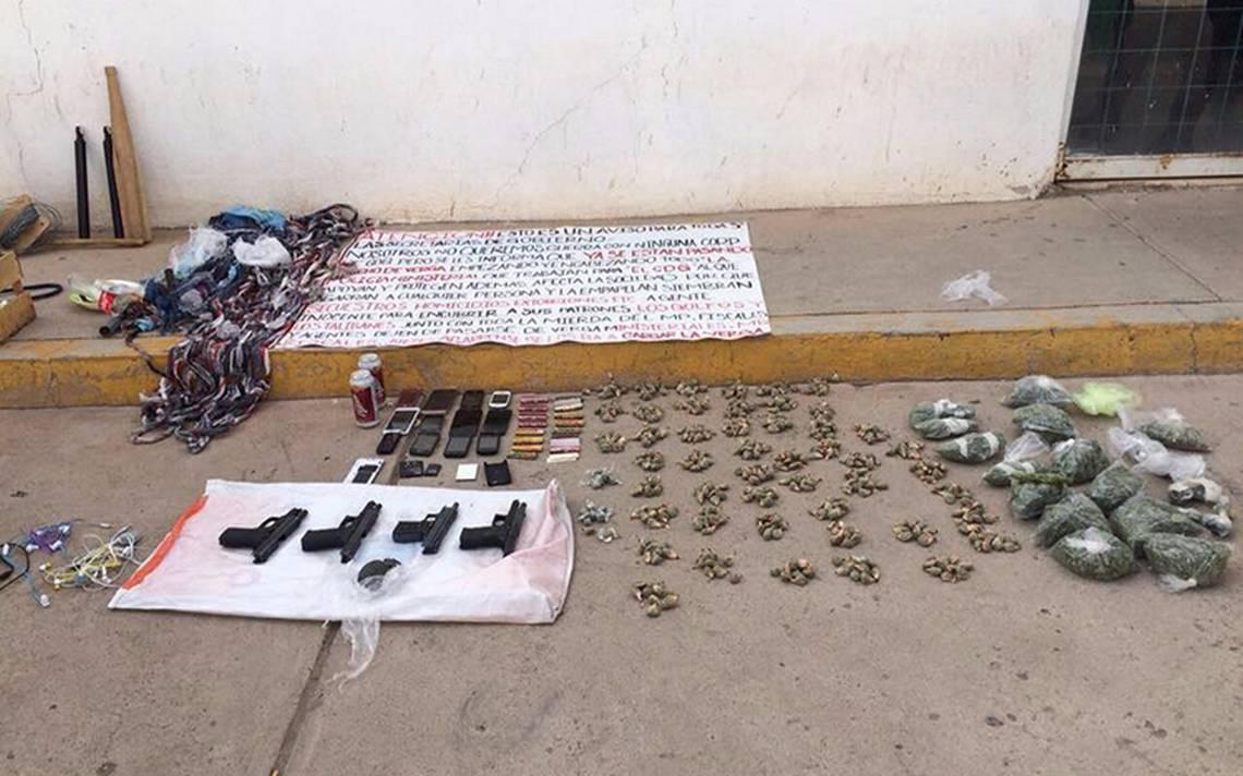 Hallan armas y droga en Ceresos de Zacatecas
