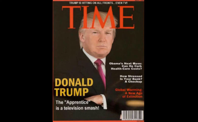 Trump presume portada falsa de Time; revista pide que las retire