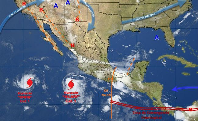 Tormenta tropical Irwin se intensifica a huracán categoría 1