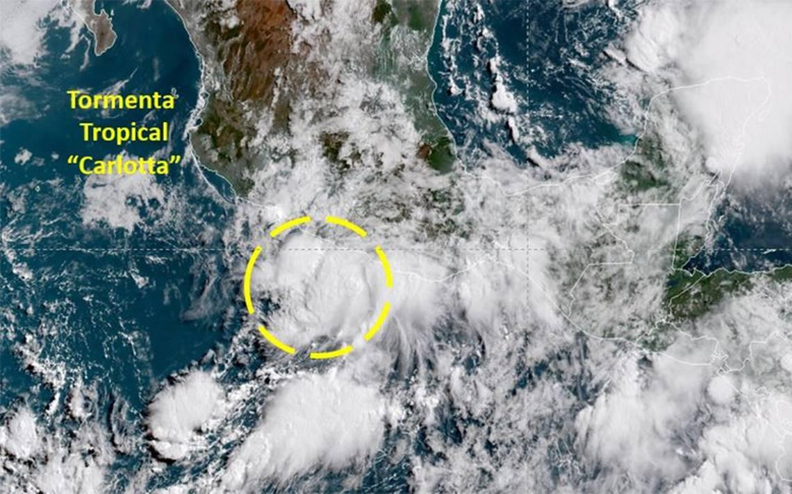 Tormenta tropical Carlotta cerca del Pacífico; seguirán las lluvias en el país