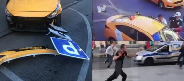 [Videos] Así trató de escapar taxista que atropelló a mexicanos en Moscú