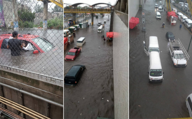 Línea A inundada, tráfico y caos en Iztapalapa por intensa lluvia