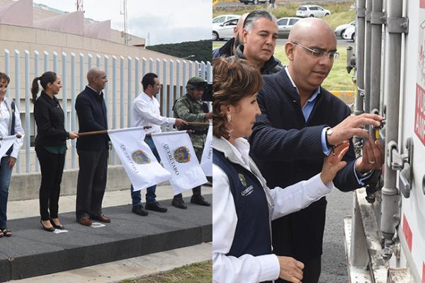 A Puebla sale cuarto tráiler de los apoyos capitalinos; dan banderazo