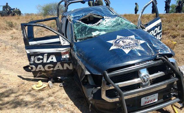 Se accidentan policías en Michoacán durante operativo