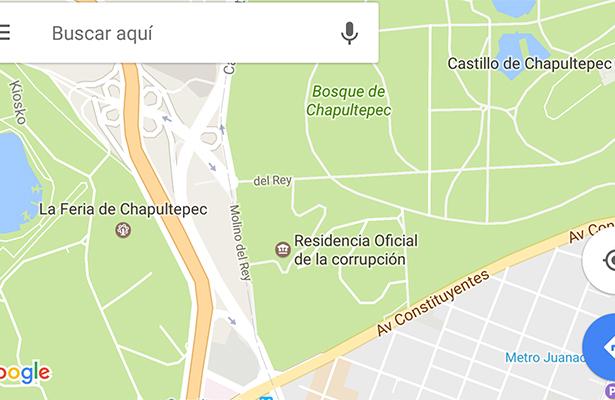 """Los hackers """"rebautizan"""" Los Pinos en Google Maps"""