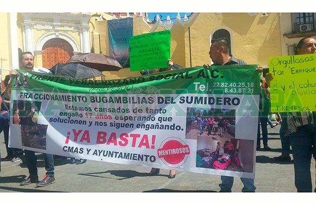 Manifestantes piden colector pluvial para Bugambilias del Sumidero