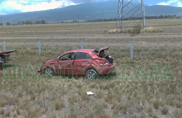 Automovilista se accidentó en la autopista Puebla-Perote