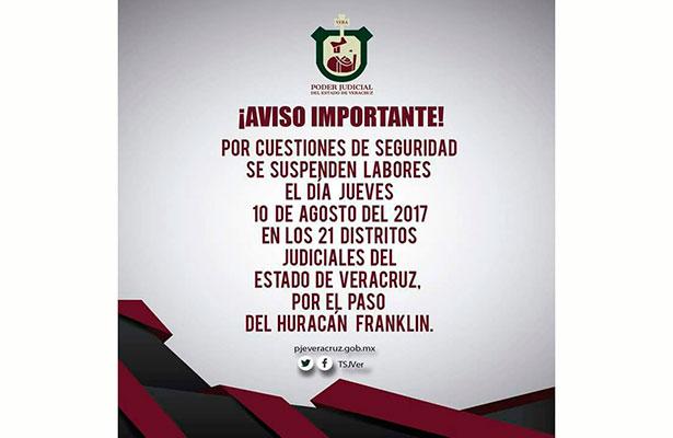 Franklin obliga a suspensión de actividadesen21 distritos judiciales en Veracruz