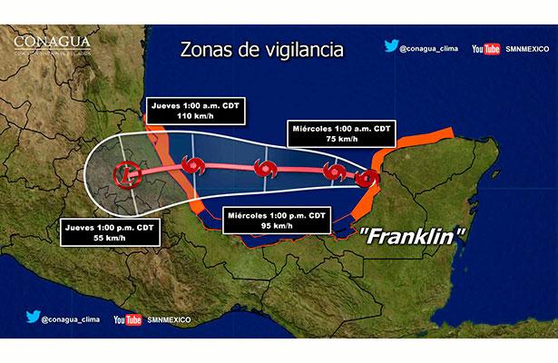 Franklin tocaría tierra entre Tampico y norte de Veracruz el próximo jueves