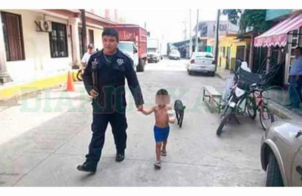 Policía rescata a niño que deambulaba perdido en la calle