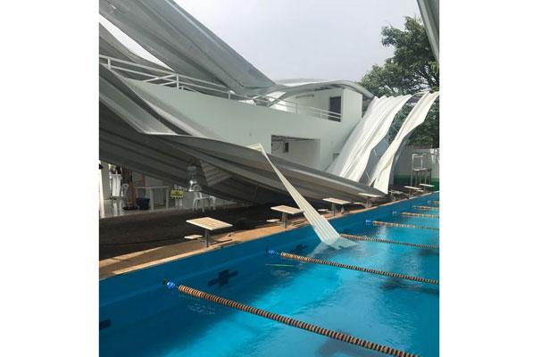 Cae domo de obra nueva en San Andrés; no soportó rachas de viento