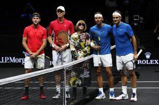 Rafa Nadal y Roger Federer vencen en dobles en Copa Laver