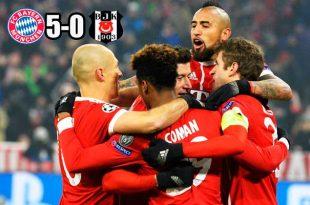 Directo a cuartos de final: Bayern masacró al Besiktas