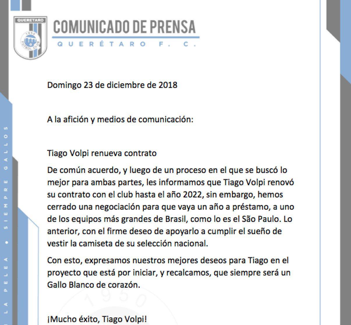 Tiago Volpi renueva contrato con Querétaro y se va de préstamo