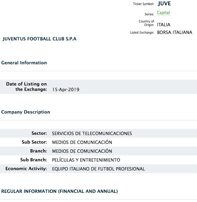 El Juventus llega a la Bolsa Mexicana de Valores